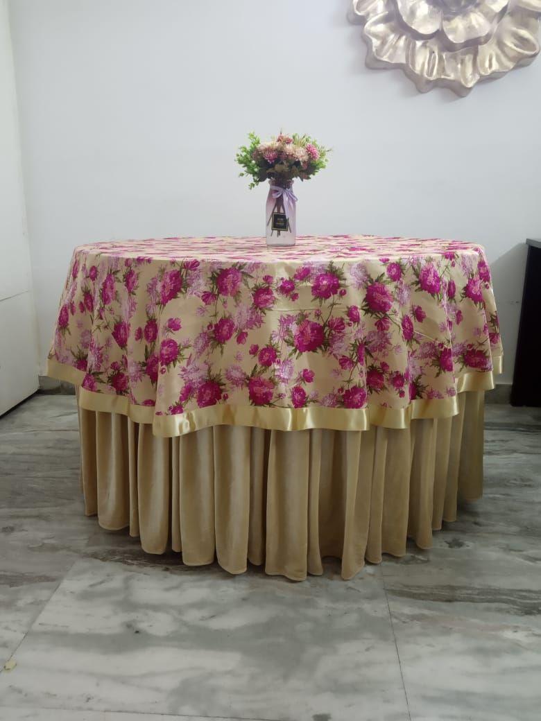 Bangalori silk floral print overlay with ribbon border