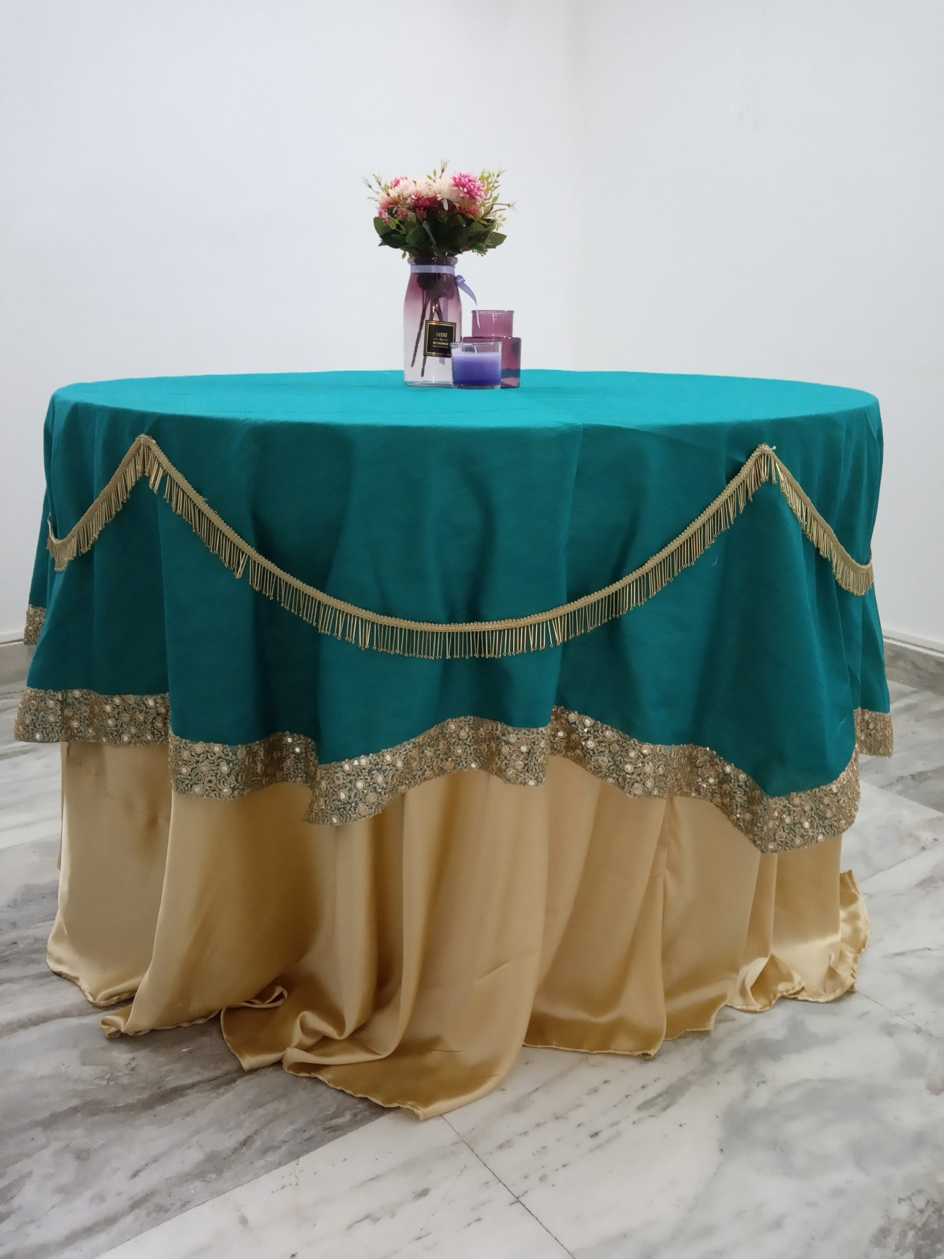 Teal green overlay with golden lace