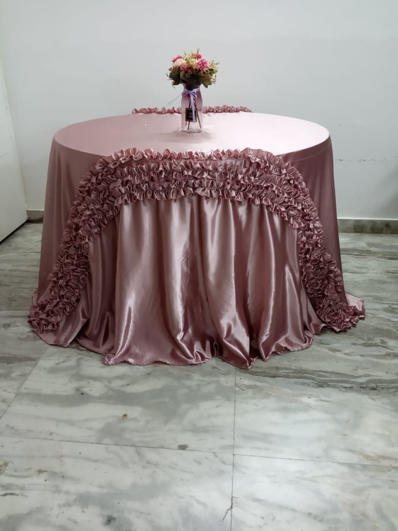Rose gold satin full length overlay with matching frills in front and back