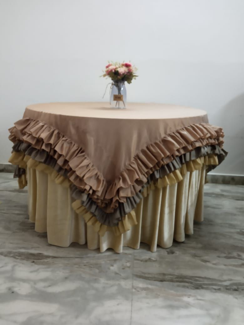 Raw silk square shape overlay with layer frills
