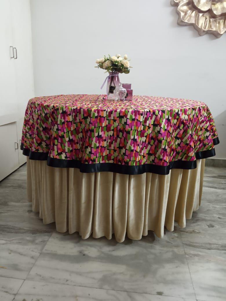 Abstract print in bangalori silk with black ribbon border overlay