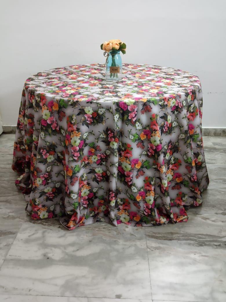 Digital floral prints on tafeta full length overlay