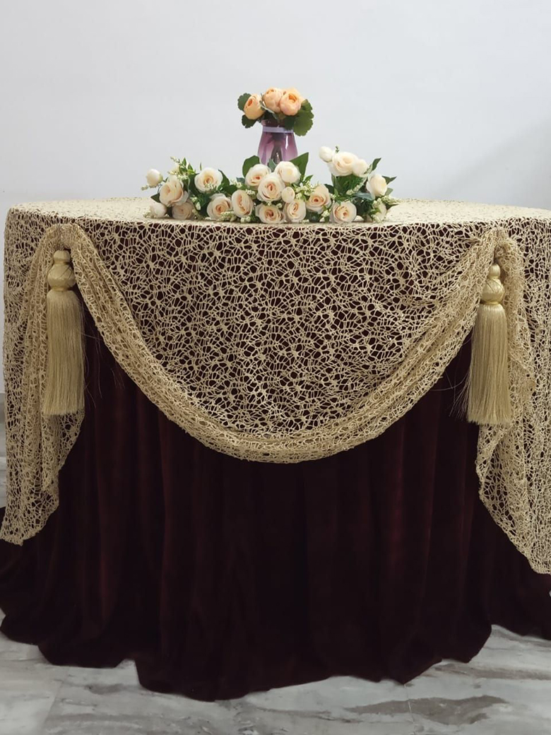 Golden ghinza net full length overlay with front and back curve and matching tassels