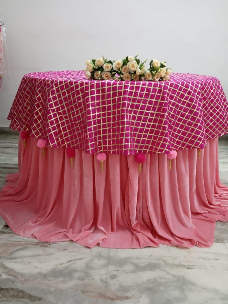 Gota lace fabric overlay with pom pom border