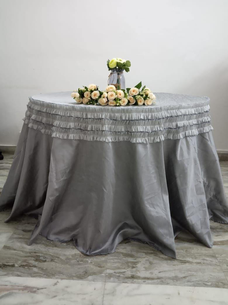 Grey raw silk full length overlay with matching tissue frills